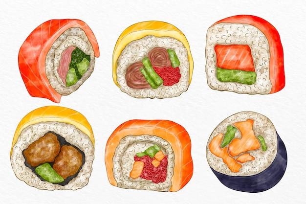 Colección de sushi pintado a mano.