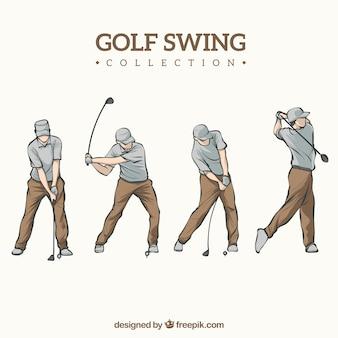Colección de swings de golf dibujados a mano