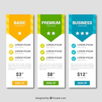 Colección de tablas de precios con diferentes tarifas