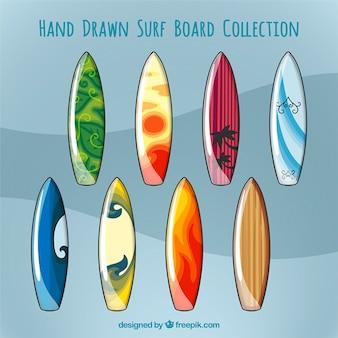 Colección de tablas de surf dibujadas a mano