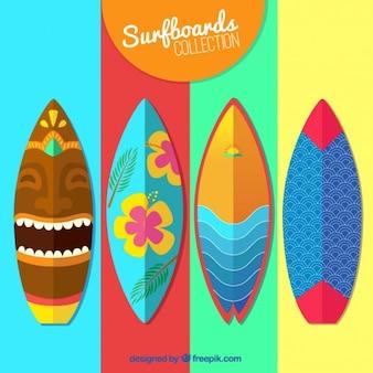 Colección de tablas de surg coloridas