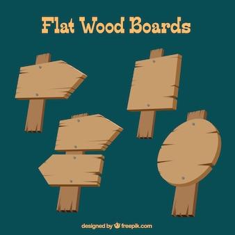 Colección de tablones de madera planos