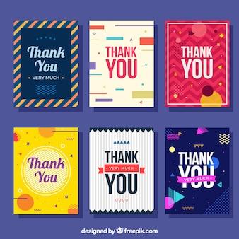 Colección de tarjetas abstractas de agradecimiento