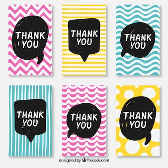 Colección de tarjetas abstractas coloridas de agradecimiento