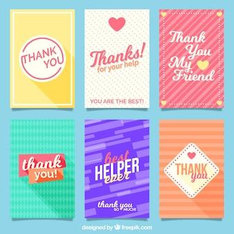 Colección de tarjetas de agradecimiento abstractas