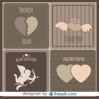 Colección de tarjetas de amor antiguas