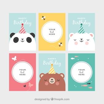 Colección de tarjetas con animales en un cumpleaños