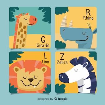 Colección de tarjetas de animales dibujadas a mano.