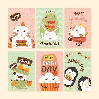 Colección de tarjetas con animales en fiesta de cumpleaños.
