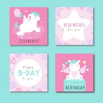 Colección de tarjetas con animales en la fiesta de cumpleaños