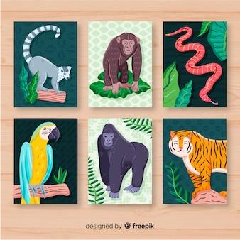 Colección tarjetas animales salvajes dibujadas a mano