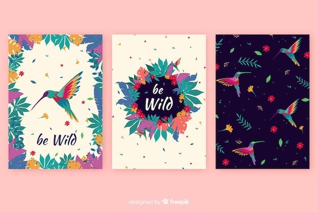Colección de tarjetas de animales salvajes