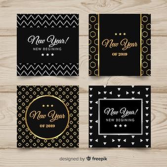 Colección de tarjetas de año nuevo 2019 doradas y plateadas
