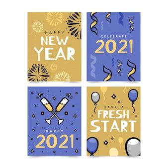 Colección de tarjetas de año nuevo 2021 dibujadas a mano