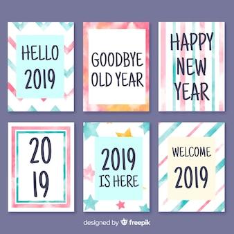 Colección tarjetas año nuevo colores pastel