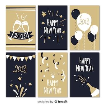 Colección tarjetas año nuevo elementos fiesta