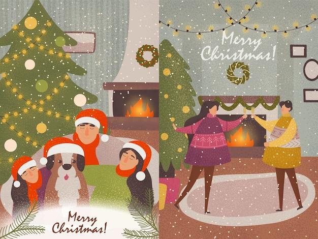 Colección de tarjetas de año nuevo que representan a la familia divertida