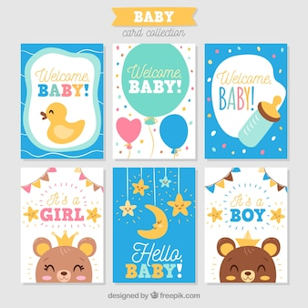Colección de tarjetas de bebé en estilo hecho a mano