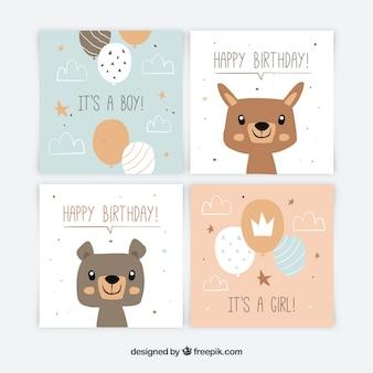 Colección de tarjetas de bebé en estilo plano