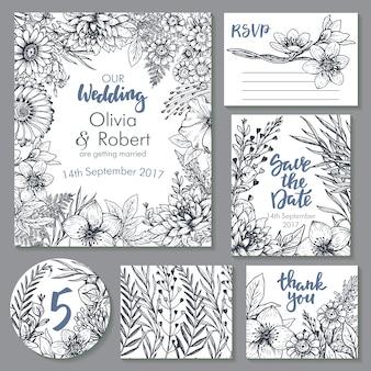 Colección de tarjetas de boda. plantillas para invitación, tarjeta de agradecimiento, ahorre la fecha, rsvp. hermosos adornos florales dibujados a mano, ramos y coronas en estilo boceto.