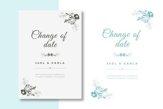 Colección de tarjetas de boda pospuestas dibujadas a mano