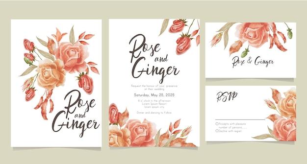 Colección de tarjetas de boda con rosas de terracota en acuarela