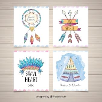 Colección de tarjetas boho de acuarela