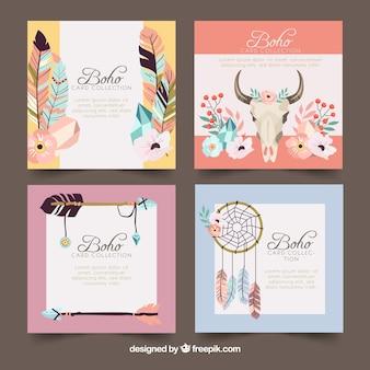 Colección de tarjetas boho con elementos hippie