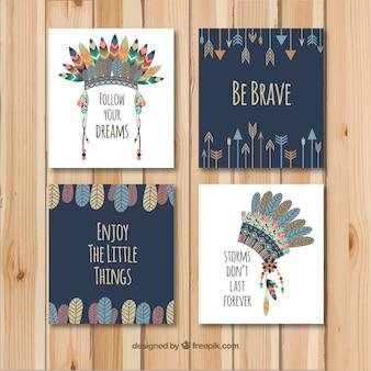 Colección de tarjetas boho con elementos