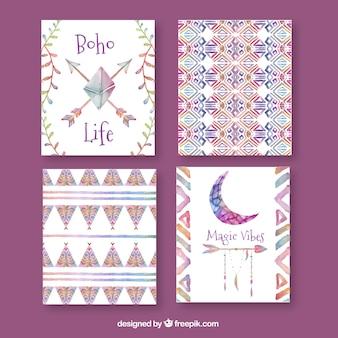 Colección de tarjetas boho en estilo acuarela