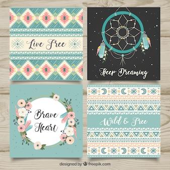 Colección de tarjetas boho en estilo hecho a mano