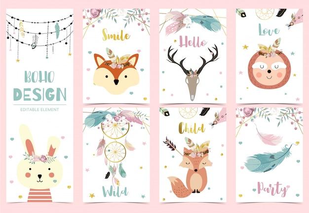 Colección de tarjetas boho con plumas, atrapasueños, zorros, perezosos, conejos
