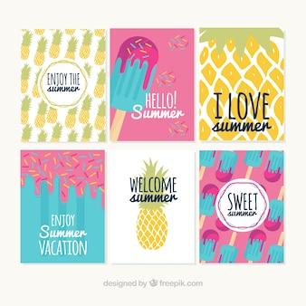 Colección de tarjetas bonitas de verano