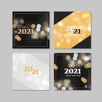 Colección de tarjetas borrosas de año nuevo 2021