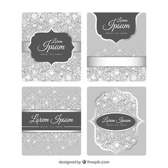 Colección de tarjetas de brillo con color plateado
