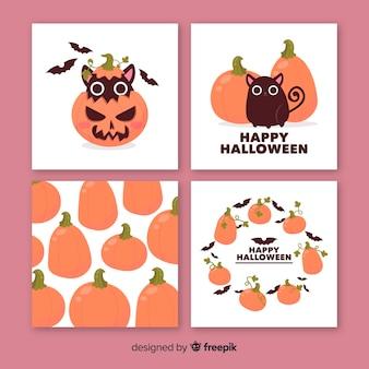 Colección de tarjetas de calabaza y animales de halloween lindos