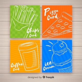 Colección de tarjetas caligráficas de comida