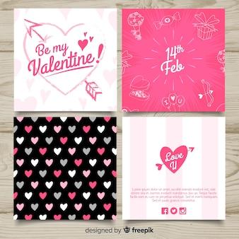 Colección tarjetas caligráficas día de san valentín