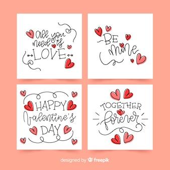 Colección tarjetas caligráficas san valentín