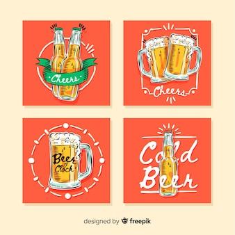 Colección tarjetas cerveza dibujadas a mano