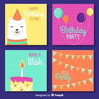 Colección tarjetas colorful cumpleaños