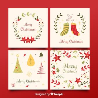 Colección de tarjetas coloridas de felicitación de navidad