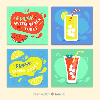 Colección tarjetas comida dibujadas a mano