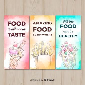 Colección de tarjetas de comida dibujadas a mano