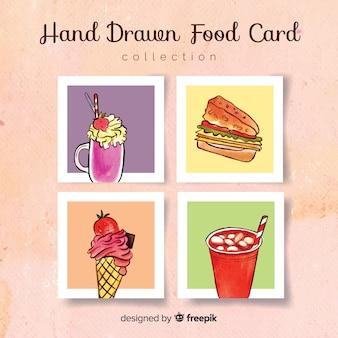 Colección de tarjetas de comida dibujado a mano
