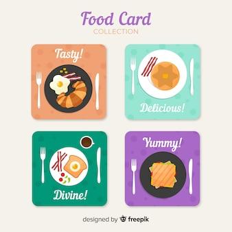 Colección de tarjetas de comida en diseño plano