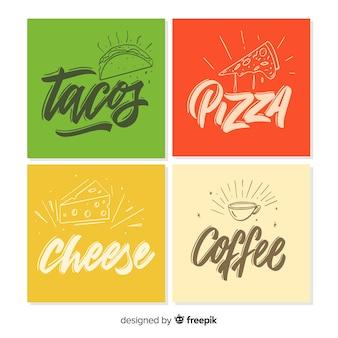 Colección tarjetas comida lettering