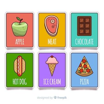 Colección tarjetas comida planas