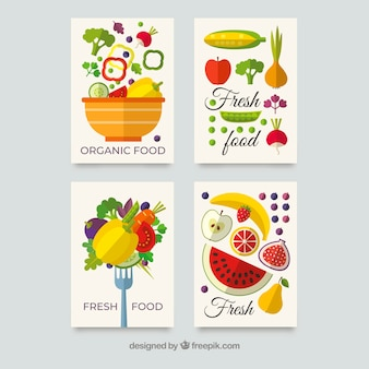 Colección de tarjetas de comida sana con diseño plano