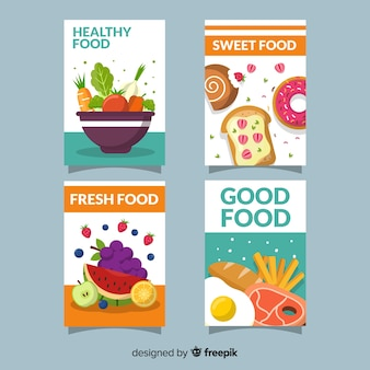 Colección tarjetas comida sana